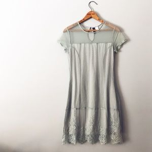 H&M Delicate Seafoam Teal Lace Overlay Dress